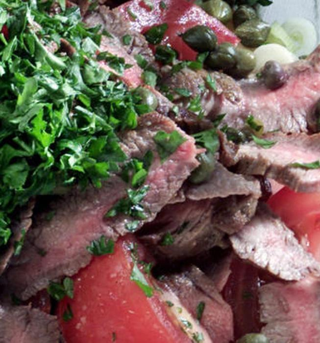 Flank steak, potato and roasted red pepper salad