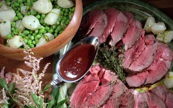 Roast Lamb With Fresh Peas and Turnips