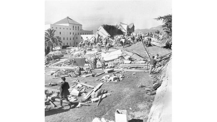 Two concrete buildings at the San Fernando Veterans Administration Hospital crumbled in the 1971 Sylmar earthquake, killing 49 people.