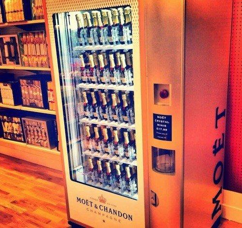 moet chandon s champagne vending machine bottles come with bling
