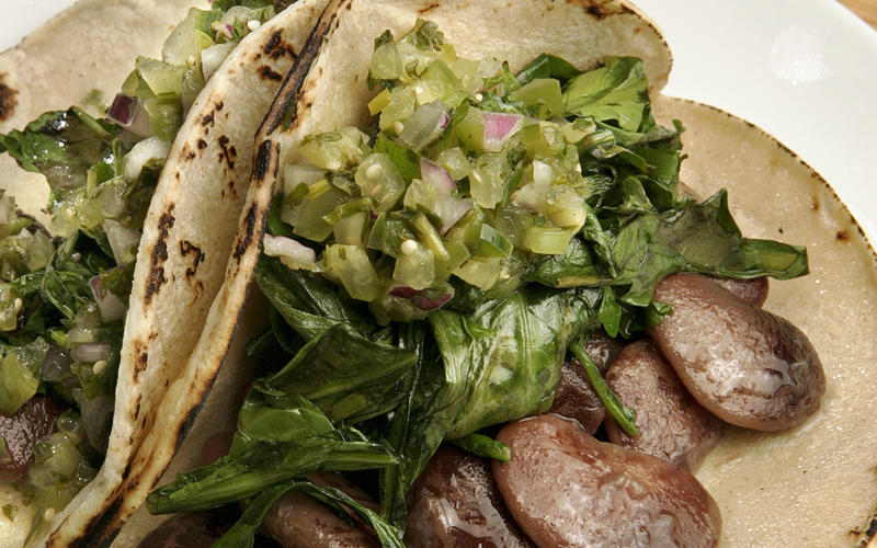 Dandelion green and Christmas lima bean tacos