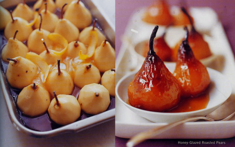 Honey-glazed roasted pears