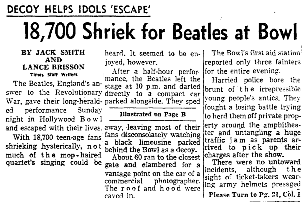 Aug. 24, 1964: Decoy Helps Idols 'Escape': 18,700 Shriek for Beatles at Bowl (Los Angeles Times)