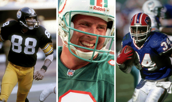 Pittsburgh Steelers wide receiver Lynn Swann, Miami Dolphins quarterback Dan Marino, and Buffalo Bills running back Thurman Thomas were among the sports legends filing workers' compensation injury claims in California before a new law on athletes' claims took effect in September 2013. (Getty Images, Associated Press, Getty Images)