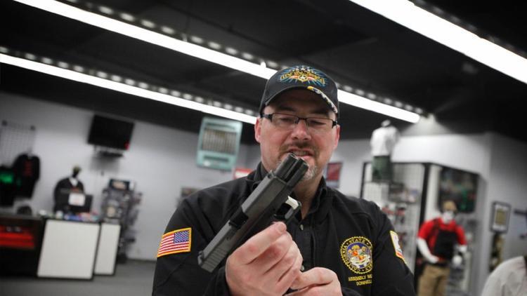 Donnelly at a gun range in Watsonville.
