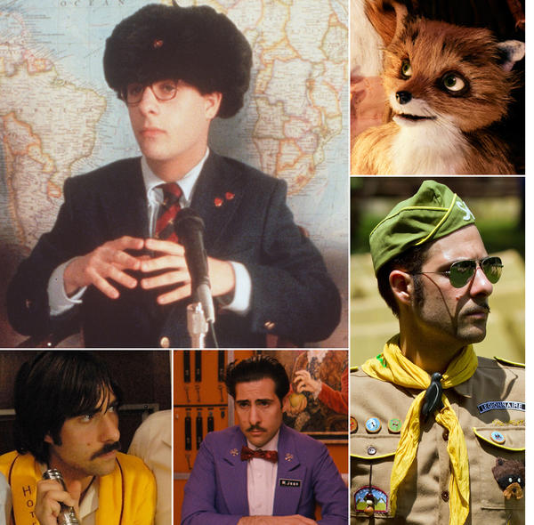 A collage of actor Jason Schwartzman in various Wes Anderson films.