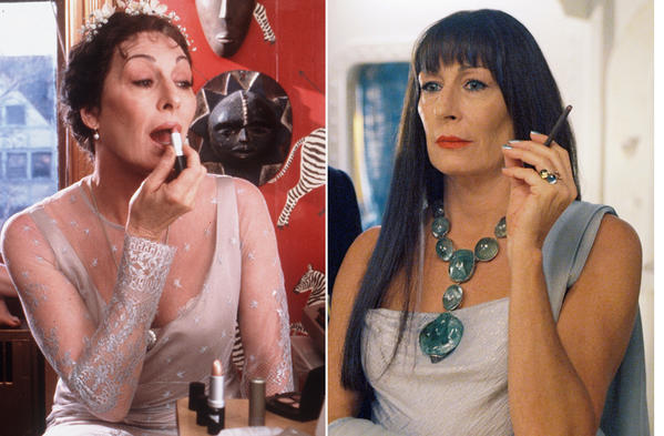 A collage of actress Anjelica Huston in various Wes Anderson films.