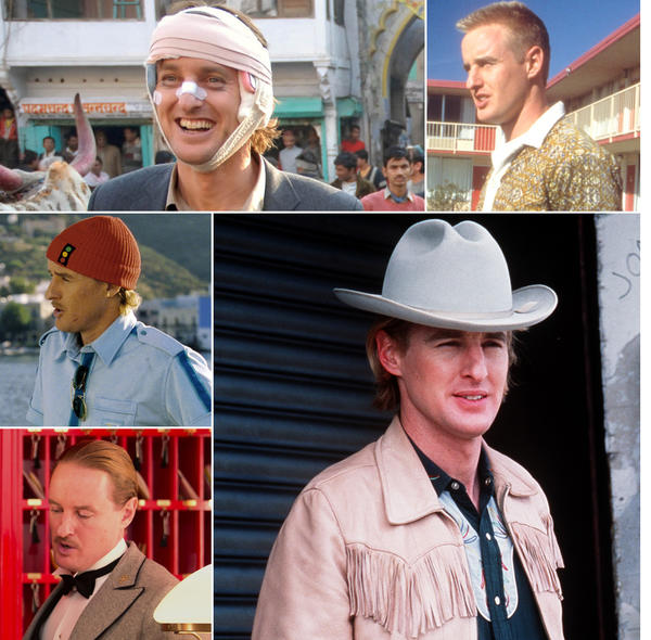 A collage of actor Owen Wilson in various Wes Anderson films.