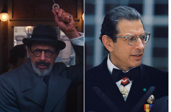 A collage of actor Jeff Goldblum in various Wes Anderson films.