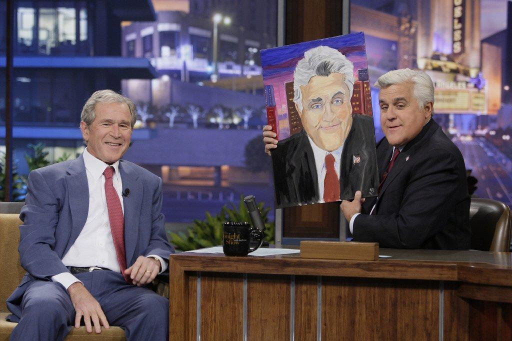 george w bush to show artwork in first exhibition latimes former president george w bush during an interview host jay leno on nbc s