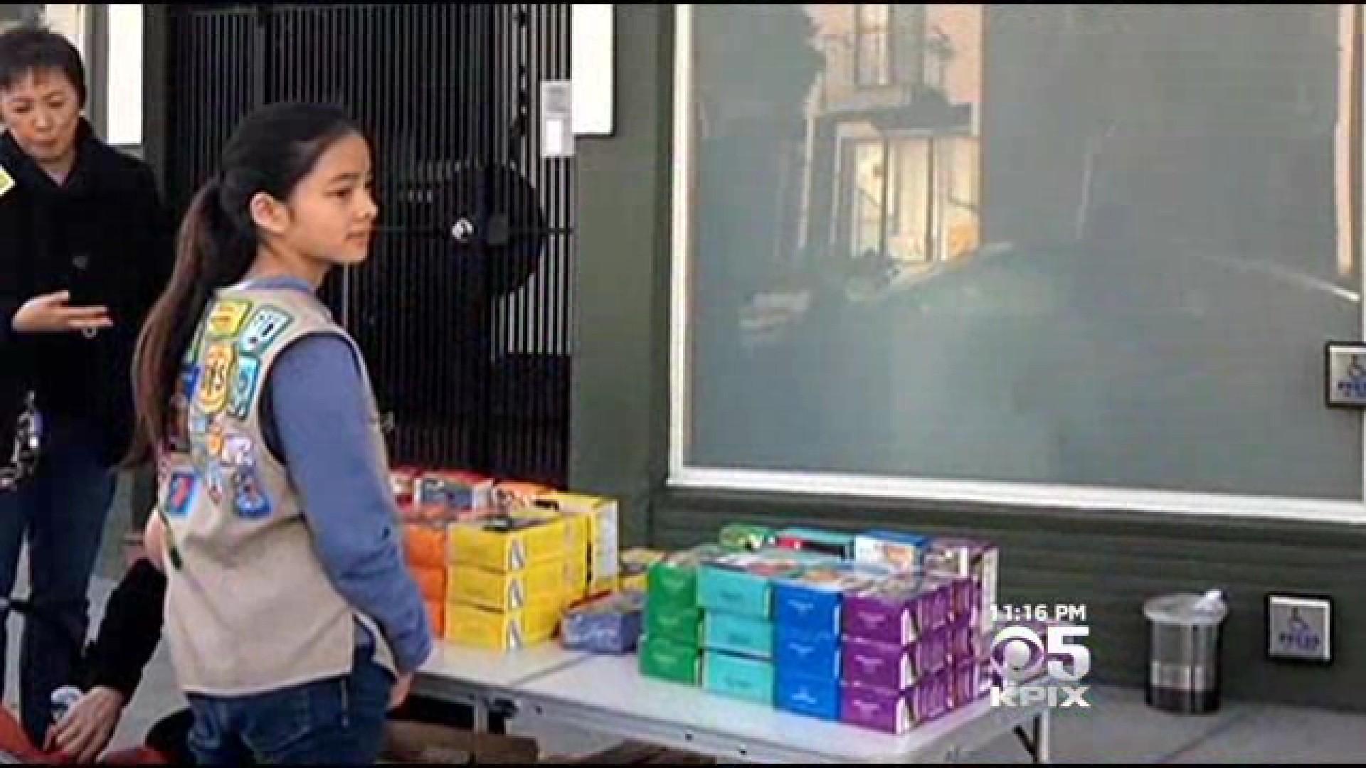 Bay Area Girl Scout sells cookies outside marijuana