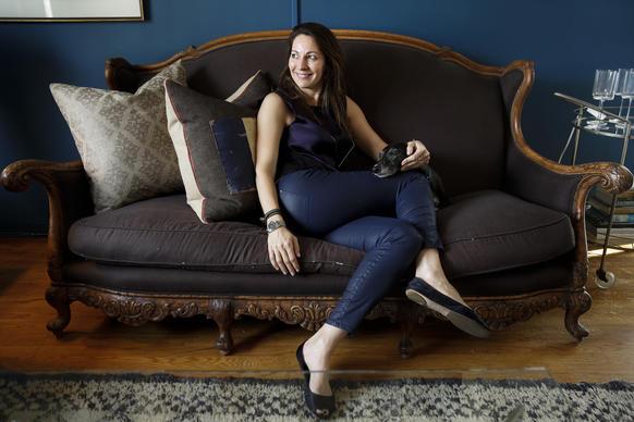 Interior Designer Heather Ashton Sits With Her Whippet