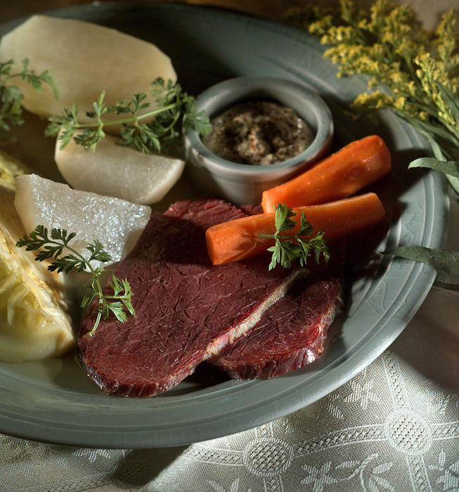 New England corned beef, cabbage and vegetables