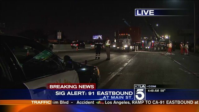 Sigalert Issued On 91 Fwy In Carson After Big Rig Overturns