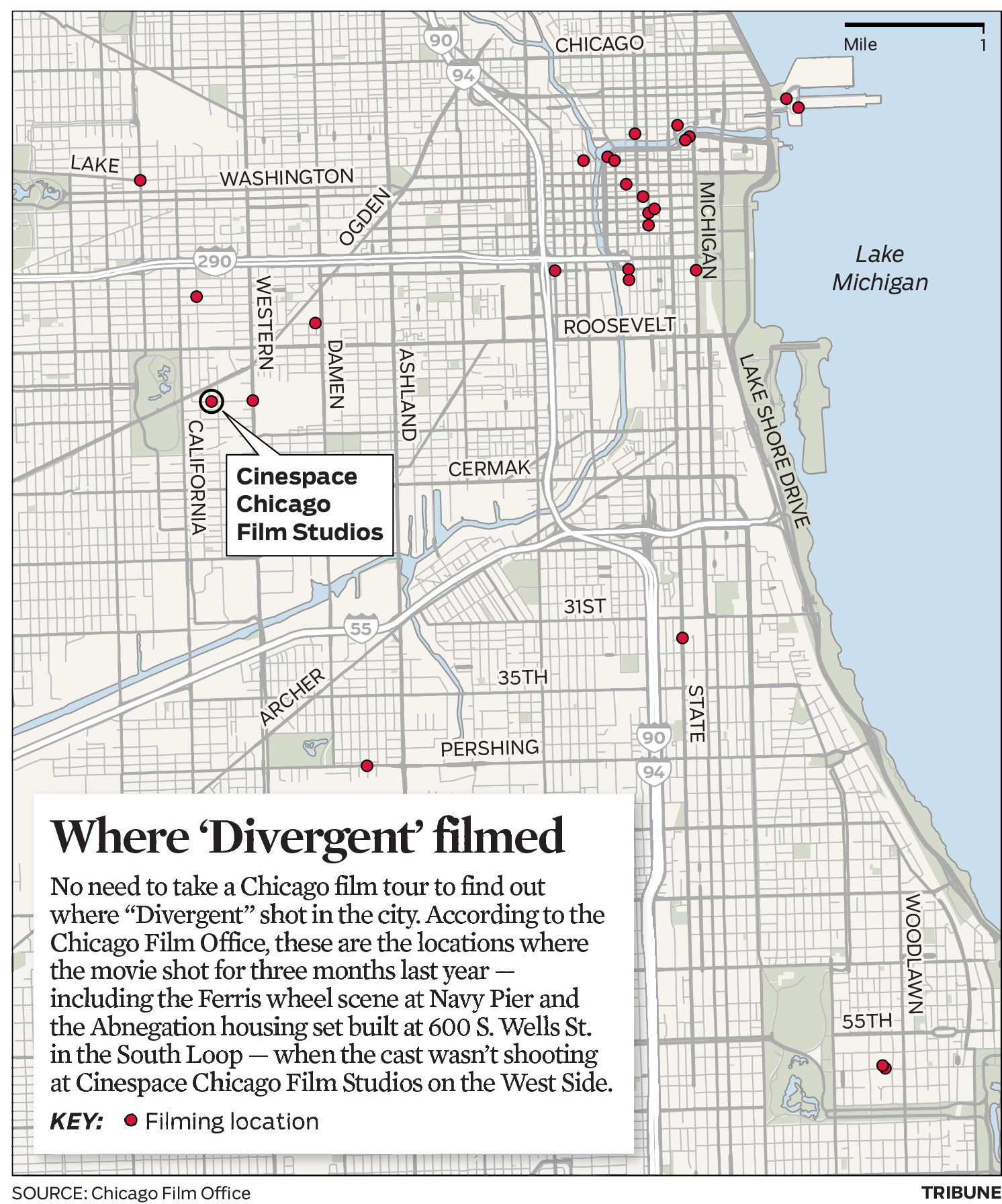 Map: 'Divergent' filming sites in Chicago - Baltimore City Paper on chicago neighborhood map, chicago airspace map, chicago precinct map, chicago area map, chicago region map, chicago watershed map, chicago district map, chicago tier map, chicago state map, chicago visitors map, chicago elevation map, chicago neighbourhood map, chicago stadium map, chicago topographic map,