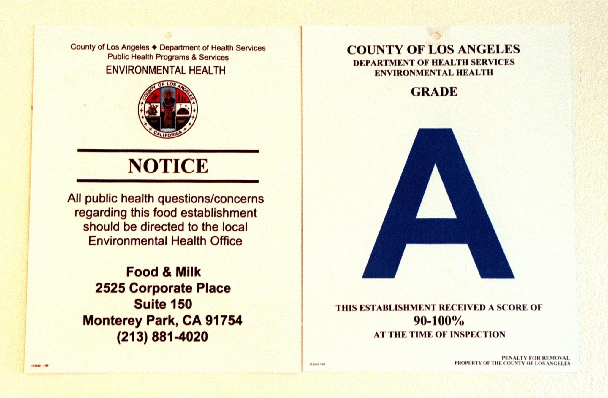 La Health Department Restaurant Ratings