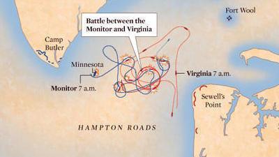 Map Of Virginia Roads.Interactive Battle Of Hampton Roads Map Uss Monitor Versus Css