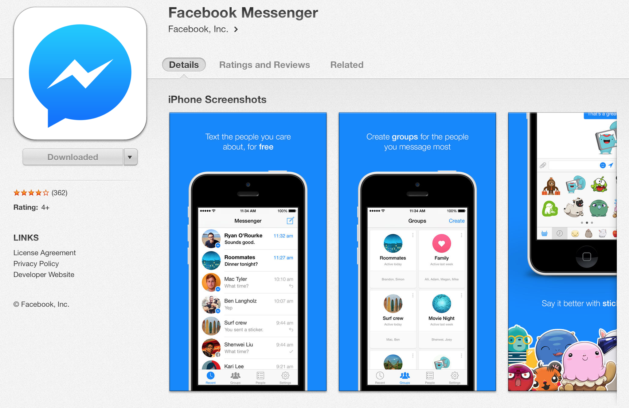 Facebook app send message