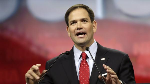 Florida Sen. Marco Rubio at an NRA convention in Indianapolis. (John Gress / Getty Images)