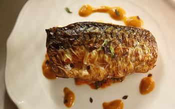 Crispy-skinned Spanish mackerel with piperade