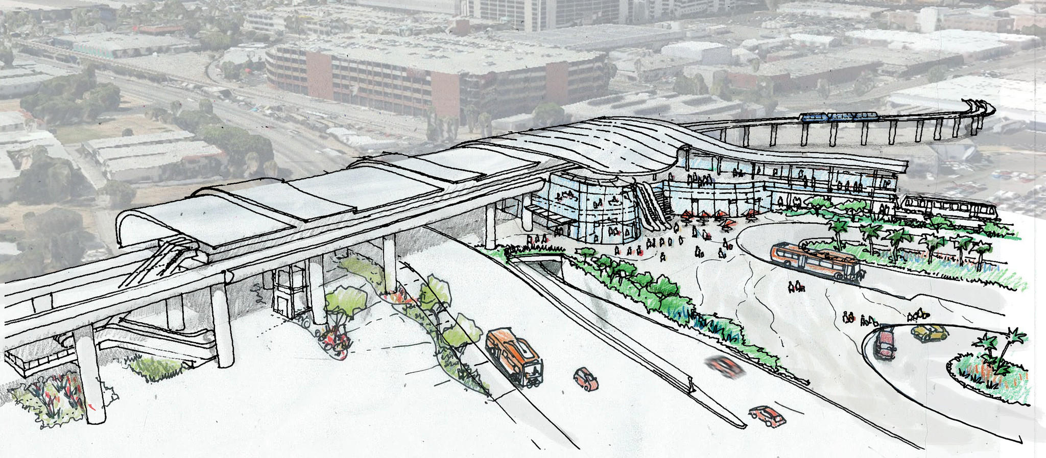 Artist's concept sketch of the light-rail station to be built at 96th Street and Aviation Boulevard, where passengers will board an aerial circulator train to their terminals.