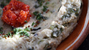 Grilled eggplant dip with tahini, yogurt and roasted chiles
