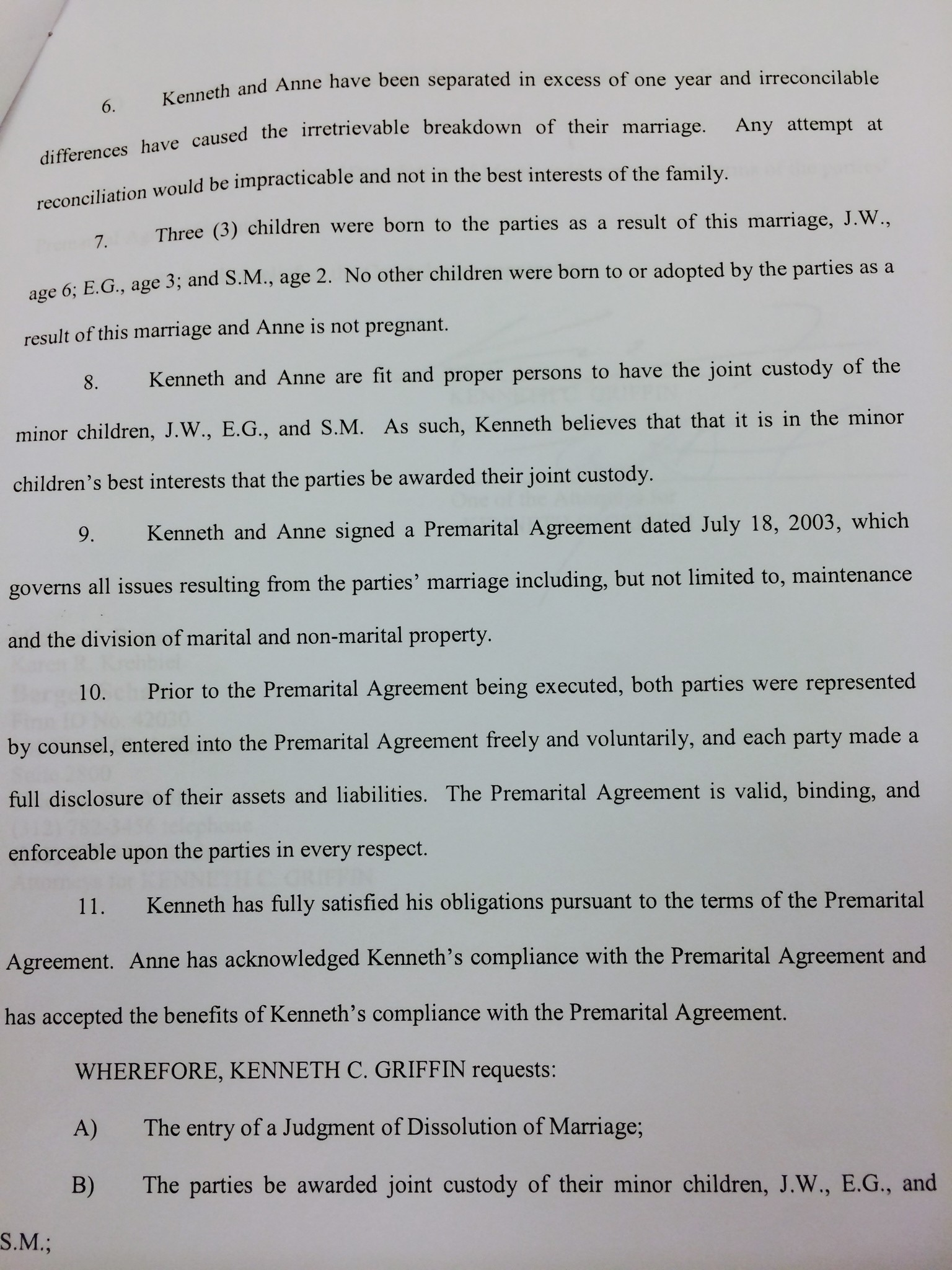 Page 2 - Griffin divorce filing - Baltimore Sun