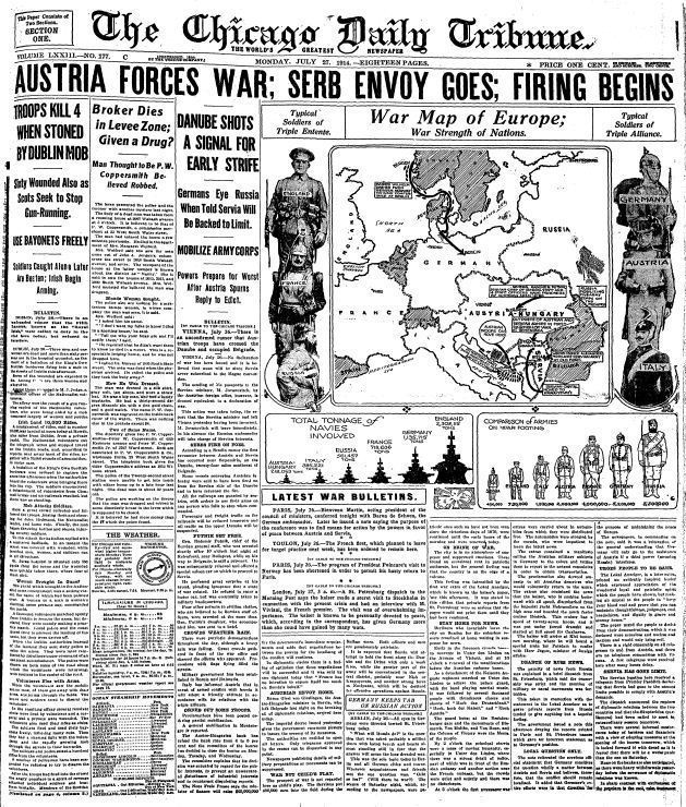 Tribune's WWI Front Pages