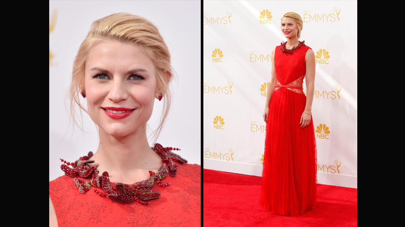 Claire Danes at the 2014 awards. (Frazer Harrison / Getty Images; Wally Skalij / Los Angeles Times)