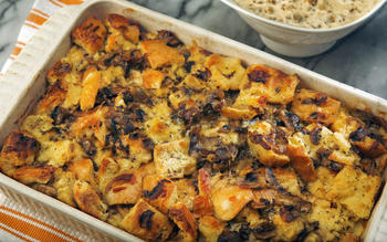 Savory bread pudding with sausage gravy