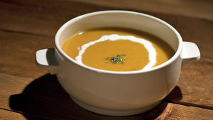 Quick orange lentil soup
