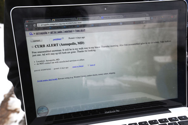 Craigslist Snow Ad - Capital Gazette