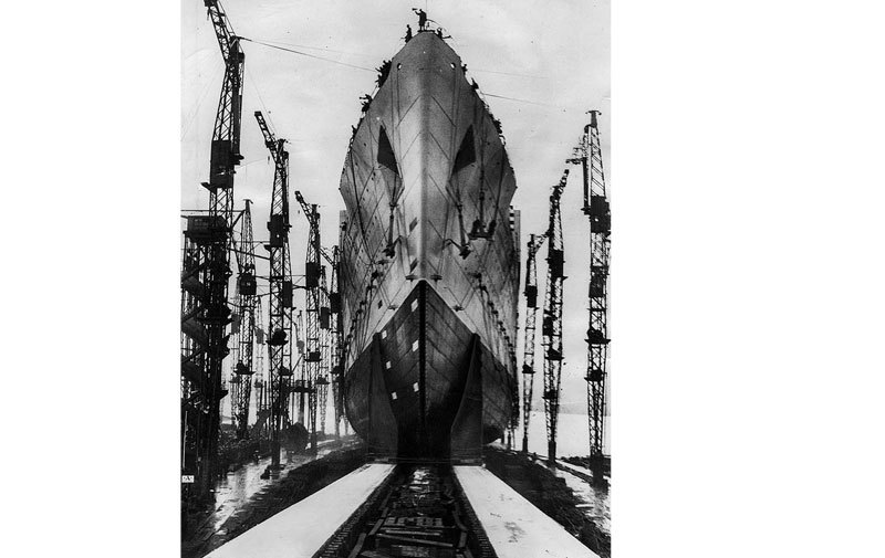 Queen Mary launches in 1934