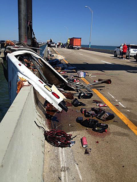 Dp Pictures Monitor Merrimac Crash And Truck Hanging Over Railing