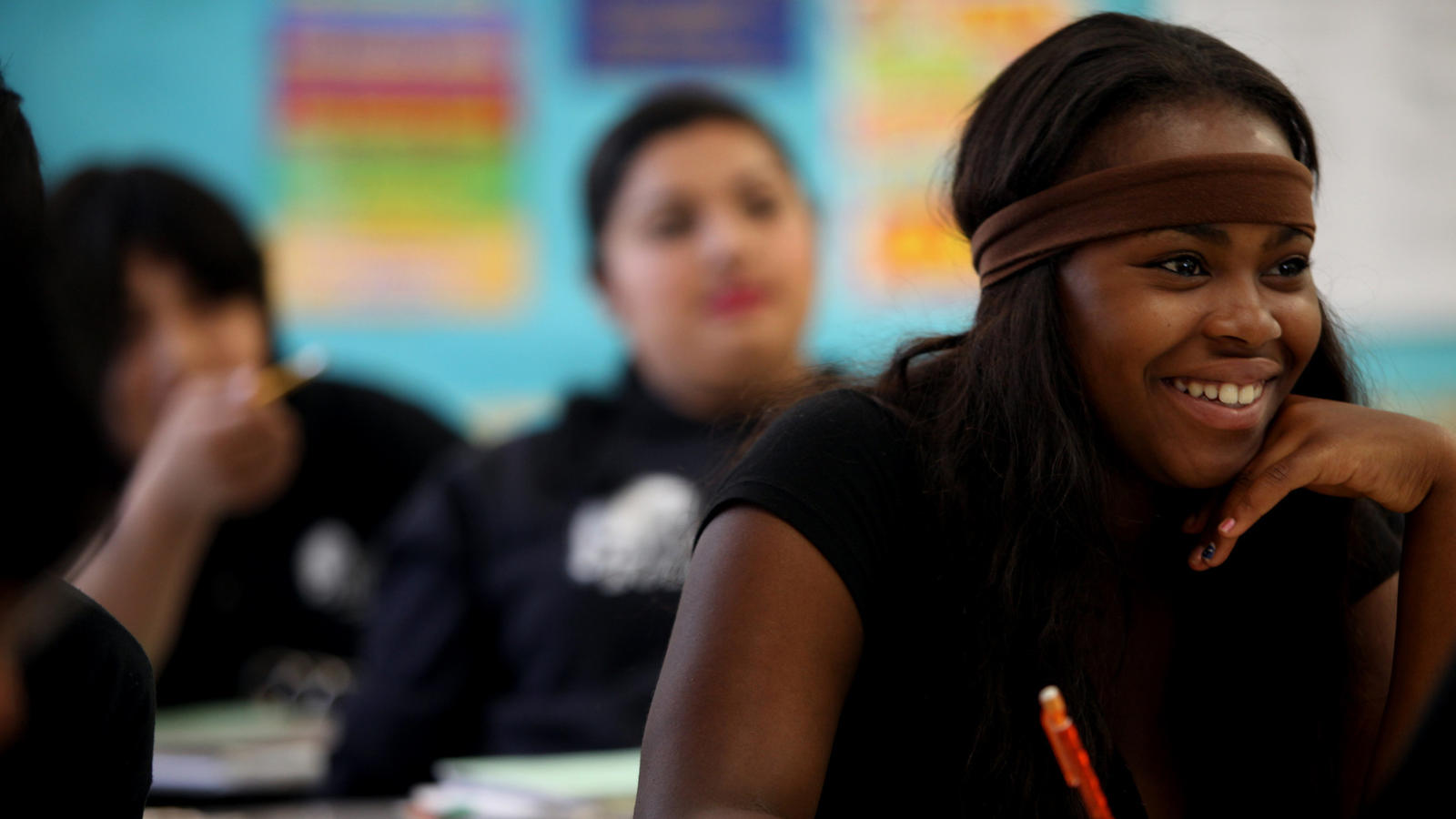 Student Jasmine Payne in class at Animo College Prep.