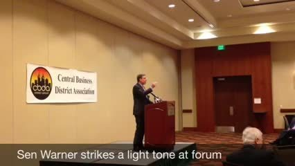 Sen  Warner at Va  Beach forum - Daily Press
