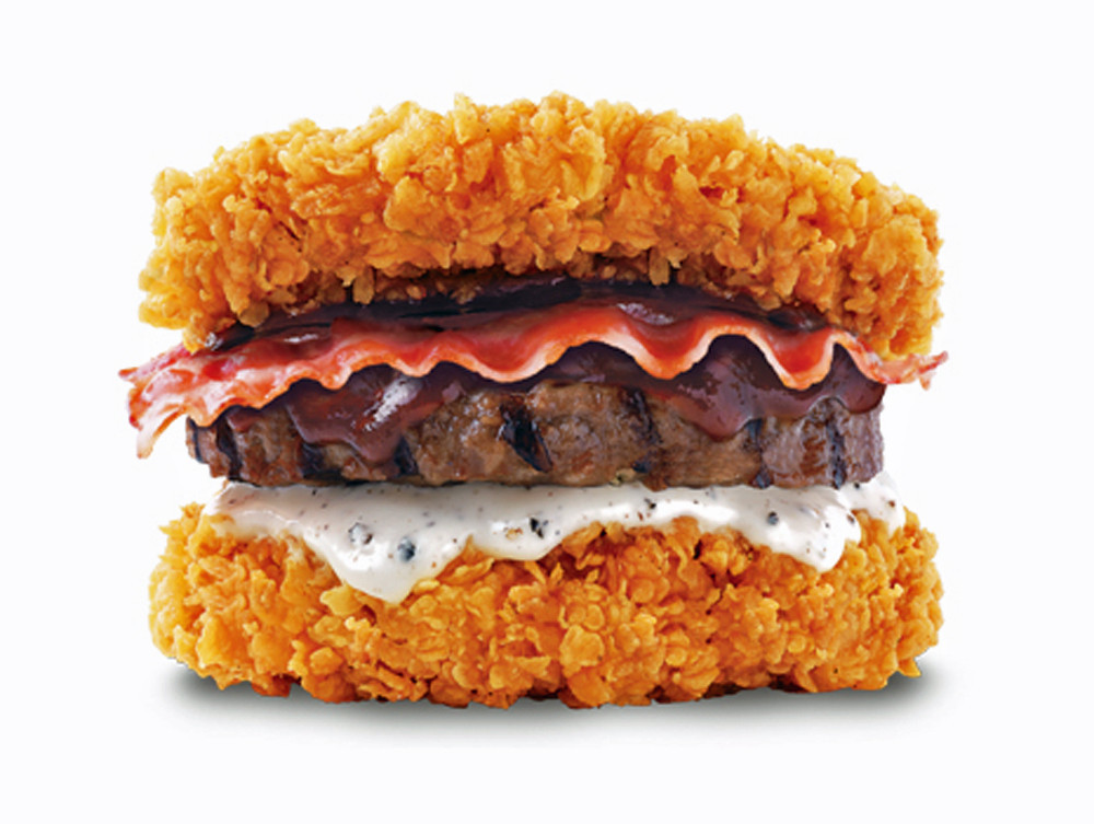 Whoa Kfcs Zinger Double Down Is A Bacon Hamburger With A Fried