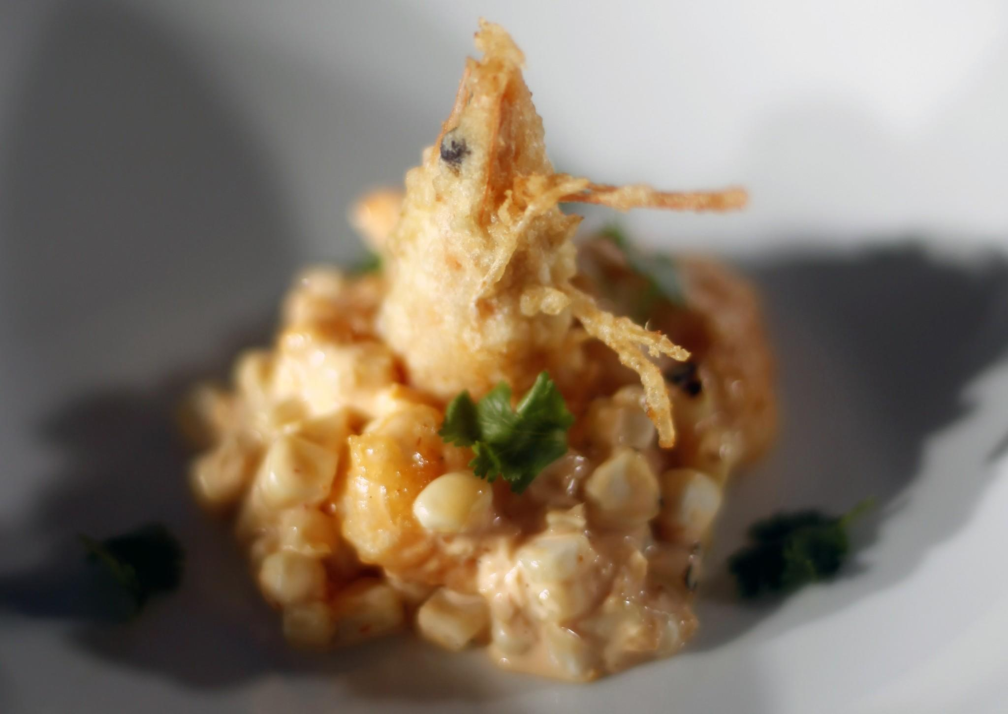 Shrimp tempura with Peruvian aji amarillo aioli and maize