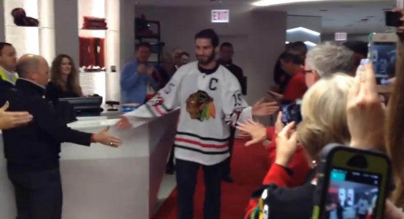 Brandon Saad unveils the Blackhawks  Winter Classic sweaters - Chicago  Tribune 519bb3c38