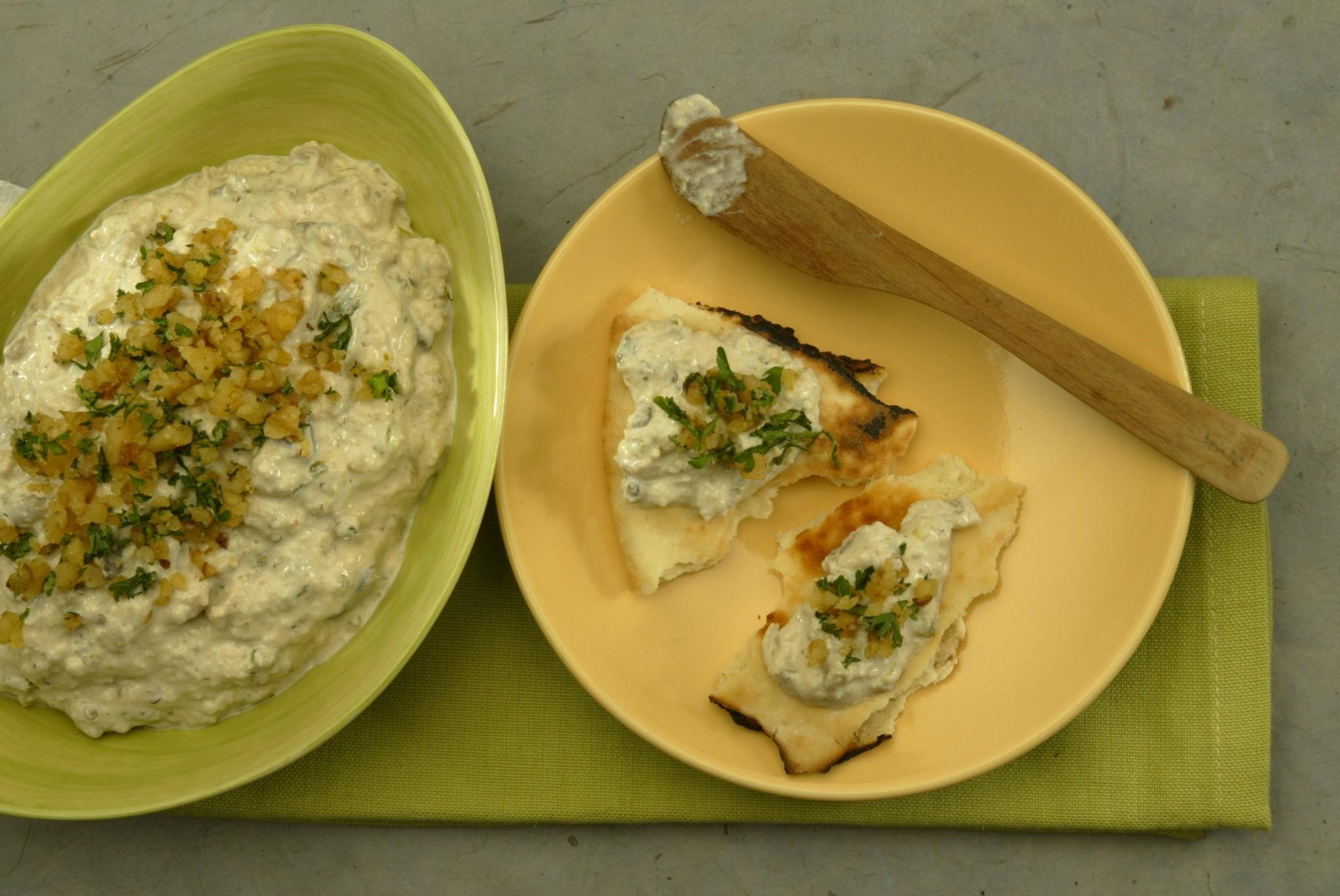 Roasted eggplant dip with walnuts
