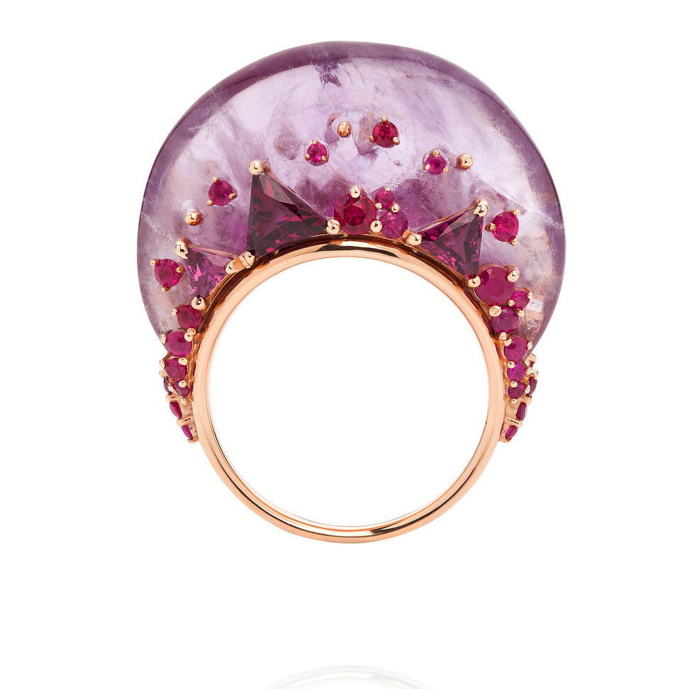 Diamond Ring With Pink Sapphire Side Stones