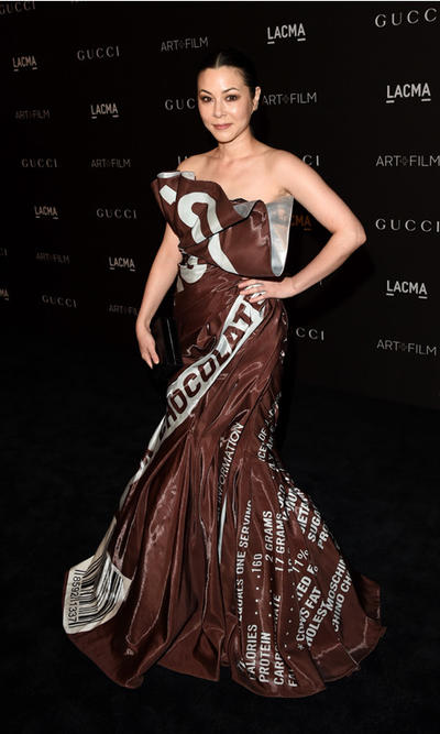 China Chow in a Hershey's dress