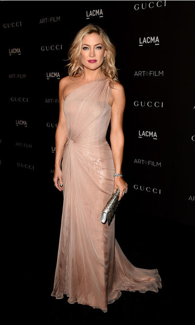 Kate Hudson soft rose chiffon and twisted tulle gown