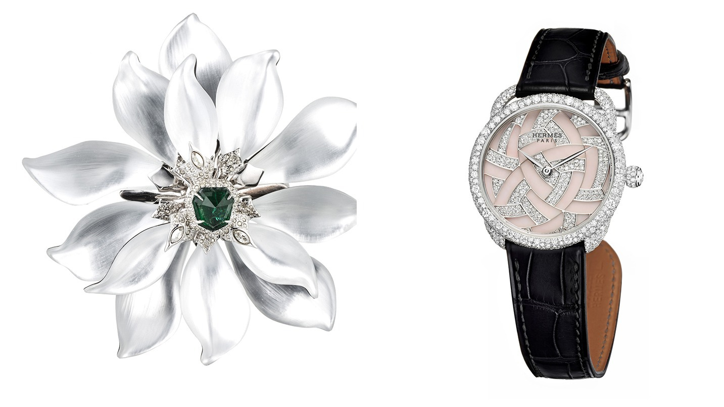 flower brooch and watch