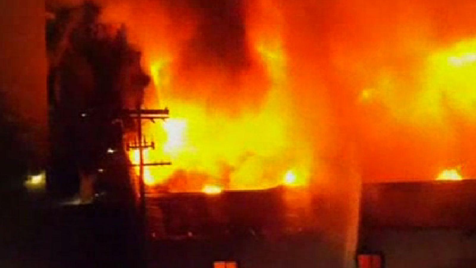 huge structure fire roars in l a la times