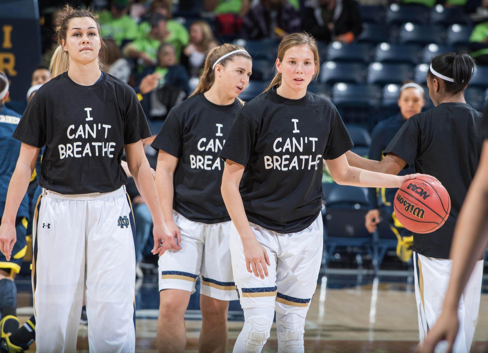84c8877aaf10 Notre Dame women wear  I can t breathe  T-shirts - Chicago Tribune