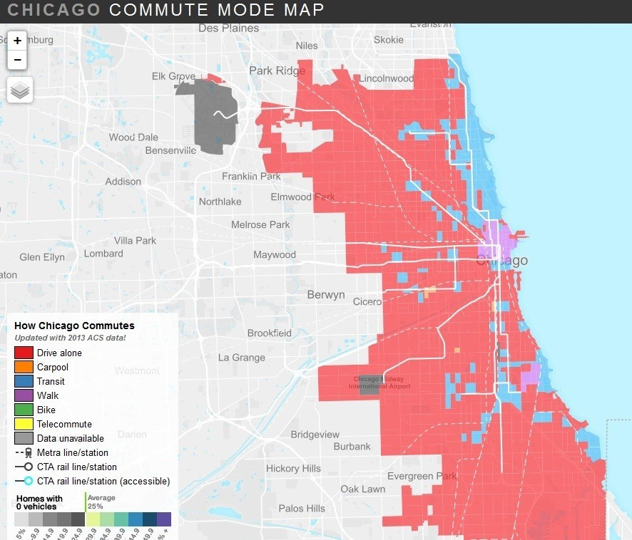 Transit Chicago Map.Map Of Census Data Shows Chicagoans Transit Habits Redeye Chicago