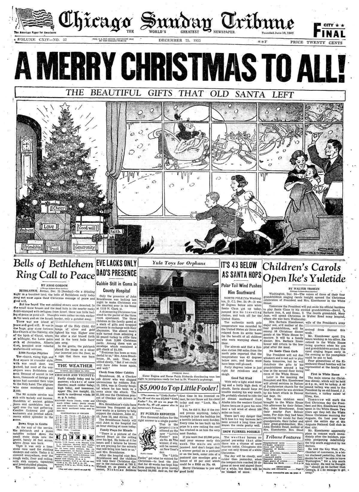 historic christmas front pages and cartoons
