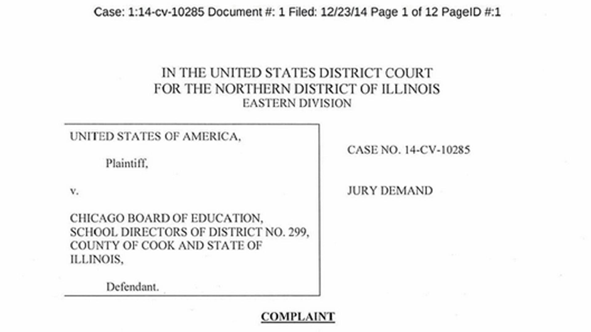 Pdf Chicago Board Of Education Complaint Chicago Tribune