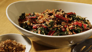 Swiss chard with golden raisins and lemon bread crumbs